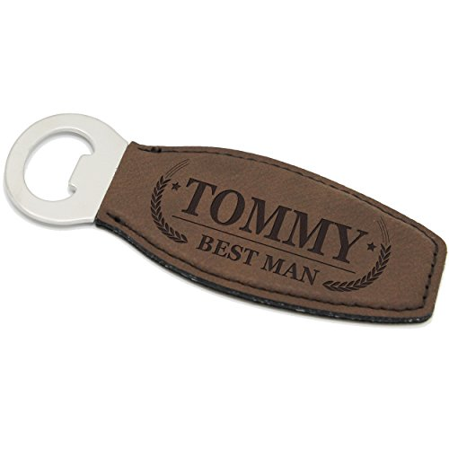 Custom Engraved Bottle Opener - Groomsmen Housewarming Beer Gift - Personalized for Free (Brown)