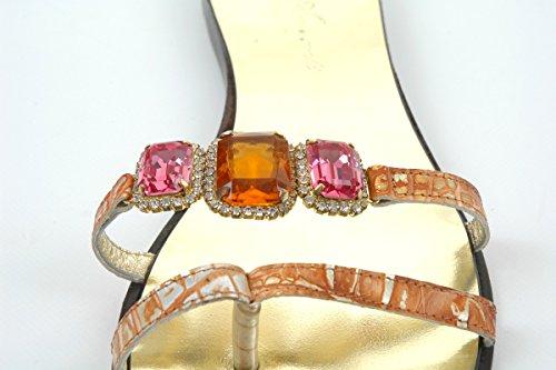 Di Sandali Swarovski Scintillante Cristalli E Pelle Rosa Arancio Cristallo In OOBwqUv