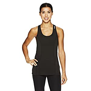 Reebok Women's Dynamic Fitted Performance Racerback Tank Top- Solid Black/Black, X-Small
