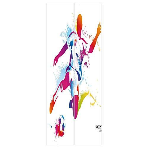 (VAMIX Wallpaper Stickers [ Teen Room Decor,Soccer Player Kicks The Ball Watercolor Style Spray Championship Image,Multicolor ] Mural Door Wall Stickers Wallpaper Mural DIY Home)