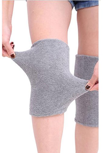(ericotry 1Pair Supper Elastic Towel Knee Pads Dance Protection Cover Elderly Leggings Support Sports Fitness Unisex Winter Warm Thermal Knee Sleeves For Joint Pain Arthritis Relief Lady Men (Grey))