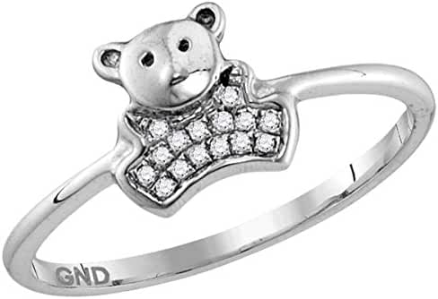 10kt White Gold Womens Round Diamond Teddy Bear Cluster Ring 1/20 Cttw