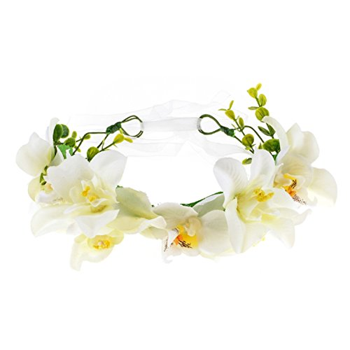Love Sweety Lily Flower Crown with Adjustable Ribbon for Wedding HH9