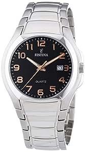Festina F16262/A - Reloj analógico de cuarzo para hombre con correa de acero inoxidable, color plateado