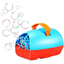 Theefun Bubble Machine for Kids, Automatic Bubble Blower Durable Bubble Maker, USB or Battery Operated, Over 500 Bubbles Per Minute for Outdoor or Indoor Use, Christmas Gift, Blue/Red