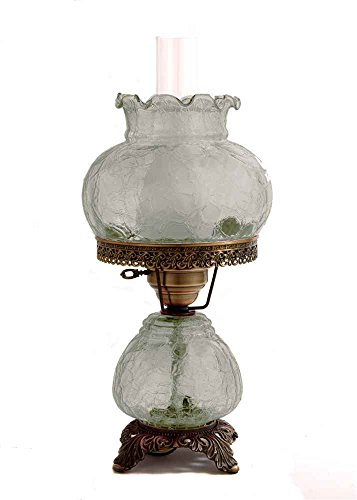 19 in. Crackle Hurricane Table Lamp w 8 in. Student Shade -