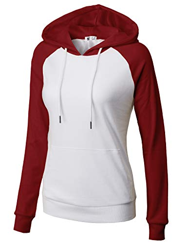 Hooded Jacket Embroidered Zip Full - H2H Women's Active Lightweight Full-Zip Hooded Jacket WHITEBURGUNDY US 2XL/Asia 2XL (CWOHOL033)