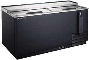 PEAK COLD Deep Well Horizontal Bottle Cooler; Slide Top Bar Refrigerator; 22 Case Capacity