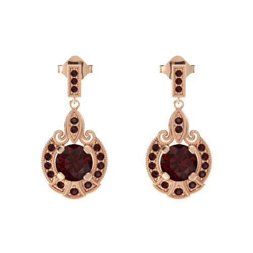 Round Red Garnet 14K Rose Gold Earrings â€