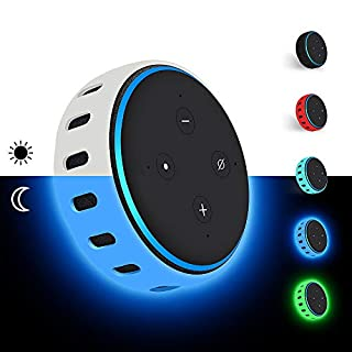 Silicone Case for Amazon Echo Dot 3rd Generation, Smart Speaker Cover Protective Holder Skin Sleeve Stand Light Weight Soft Shockproof Cases Accessories Protector-Glow Blue
