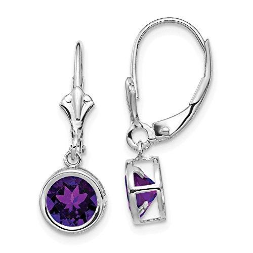 (14k White Gold 6mm Purple Amethyst Leverback Earrings Lever Back Drop Dangle Gemstone Bezel Fine Jewelry Gifts For Women For Her)