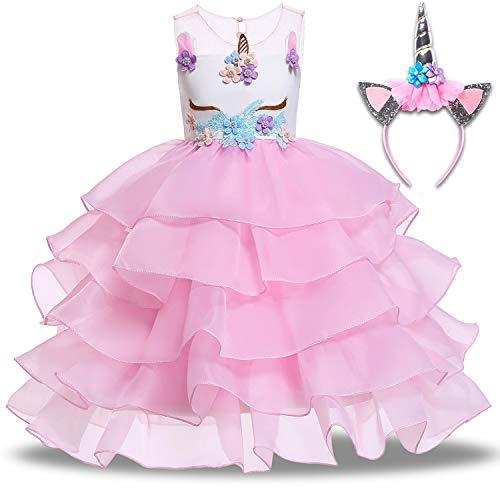 (Baby Girls Unicorn Dress Up Pageant Flower Princess Dresses with Headband Rainbow Tutu Skirt Birthday Party Wedding (1-2T (Tag 90), B-Pink Flower (with)