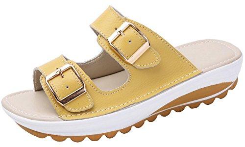 V VOCNI Women's Slide Leather Sandal Shoes Buckle T-Strap Platform Slide Sandals Yellow EU 40-8.5 B(M) US