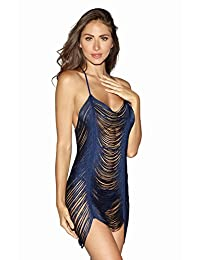 DreamGirl Women's Sexy Draped Fringe Lingerie Chemise Dress with T-Back