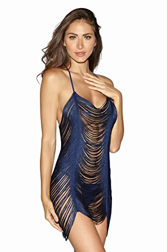 Dreamgirl Women's Draped Fringe Chemise Dress with T-Back, Midnight, X-Large