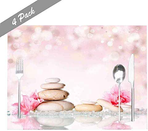 Musesh Placemats Washable Easy to Clean Dining Heat Resistant Placemats 18X12 Inches Set of 4 Placemats for Kitchen Table Holiday Party Spa Stones Pink Flower Background