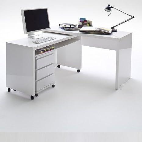Eckschreibtisch klein  lounge-zone MEMPHIS Schreibtisch klein, weiß Hochglanz ...