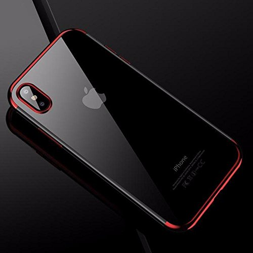 Reds Mixed Case (Cafele soft TPU case for iPhone X cases ultra thin transparent plating shining case for iPhone X Mixed silicon cover (Red))