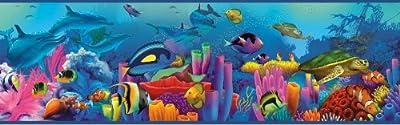 Chesapeake TOT46351B Down Under Blue Neptune's Garden Portrait Wallpaper Border