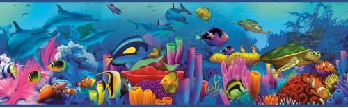 Chesapeake TOT46351B Down Under Blue Neptune's Garden Portrait Wallpaper Border ()