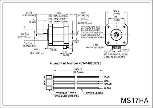 MOONS NEMA 17 Motor paso a paso 2 Fase 0,9 grados Bipolar 1 A 0,3 ...