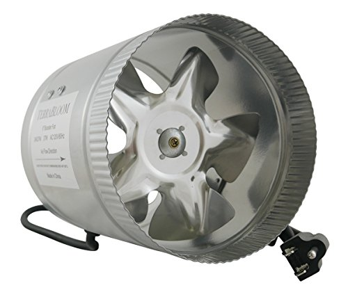 TerraBloom Inline Fan 240 CFM, 6 Inch, Duct Booster For Exhaust and Intake Ventilation