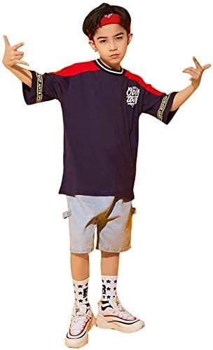 キッズ ダンス 衣装 ヒップホップ HIPHOP 子供 ダンストップス シャツ デニムパンツ ジーンズ 男の子 ジャズダンス ステージ衣装 ゆったり 練習着 演出 セットアップ スポーツ服 (トップス+パンツ,120)