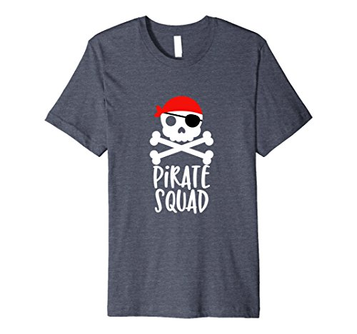 Pirate Graphic (Mens Pirate Squad T-Shirt Skull and Crossbones Tshirt Tee Shirt 2XL Heather Blue)