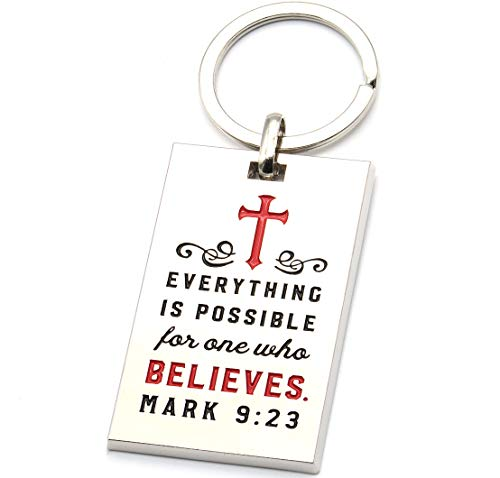 Mark 9:23 Religious Keychain with Engraved Bible Verse - Everything is Possible for One Who Believes. - Christian Prayer Scripture Gifts Accessories for Teens Men Women (Red)