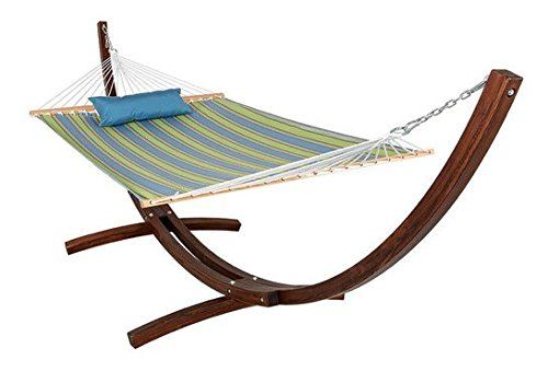 HomyDelight Sunbrella Fabric Hammock, pillow and 12 Feet Wood Arc Stand, Backyard Combo Set, Bravada Limelite garden comfortable deluxe 55 x 50 x 165 inches