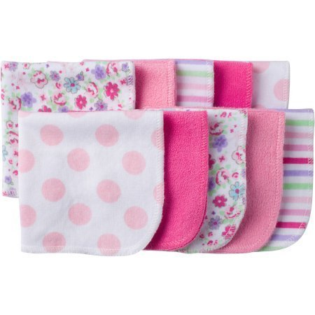 Gerber Newborn Baby Girl Assorted Terry Printed Washcloths, 10-Pack by Gerber