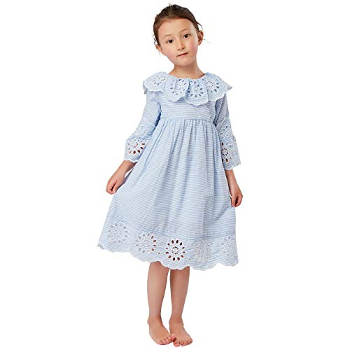 Toddlers Little Girls Kids Clothing Spring Summer Vintage Embroidered Trim Ruffle Dress Frill Collar Flare Sleeve Pinstriped Woven Cotton Dress 3-8 Years (Light Blue, 4/5) ()