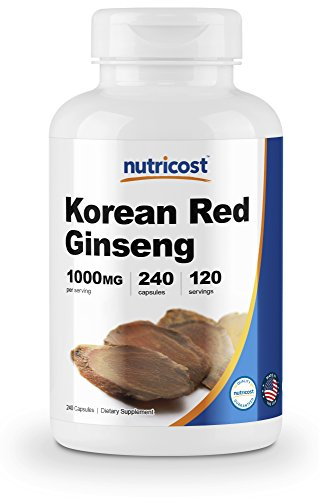 Nutricost Korean Ginseng 500mg, 240 Capsules - 1000mg Extra Strength Serving Size - Korean Red Ginseng - Gluten Free & ()