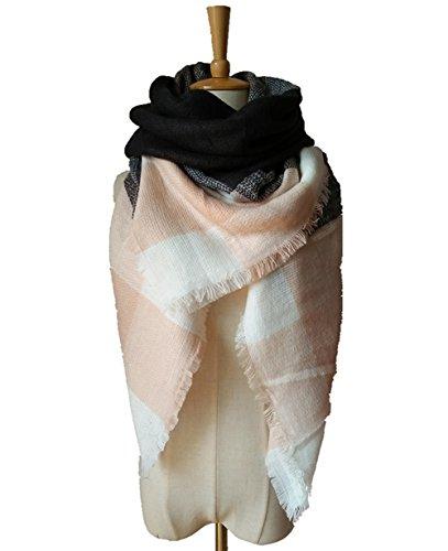 WINCAN Warm Tartan Plaid Large Tartan Scarf Cape Blanket Scarves Fashion Wrap Shawl (pink grey)