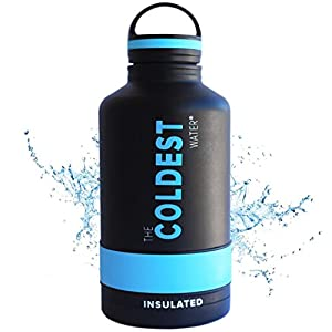 The Coldest Water Bottle Growler 64 oz Vacuum Insulated Growler and Wide Mouth Water Bottle - Cold up to 36 Hrs / Hot 13 Hrs Double Walled with Strong Cap