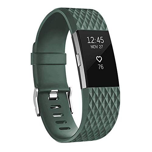 POY Replacement Bands Compatible for Fitbit Charge 2, Classic & Special Edition Adjustable Sport Wristbands (Olive-Green, Large)