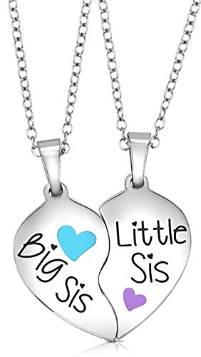 2 Piece Heart Halves Matching Big Sis Little Sis Sisters Necklace Jewelry Gift Set Best Friends (Big Sis Blue, Little Sis Purple) - Best Friend Costumes Ideas For Girls