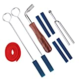 Piano Tuner Kit Include L Shape Piano Tuning Hammer Wrench,2 Red Temperament Strip, 4 Mutes Handles and 2 Long Rubber Mutes, 1 Standard A 440Hz Tuning Fork