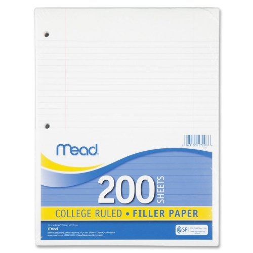 15lb 200 Sheets White Mead 17208 Filler Paper College Rule 11 x 8 1//2