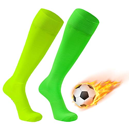 Soccer Socks, FOOTPLUS Over Knee High Breathable Football Socks, 2 Pairs-Fluorescent Yellow&Fluorescent Green -