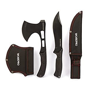 WORKPRO 2-Piece Outdoor Camping Hunting Survival Steel Hawk Axe and Knife Set
