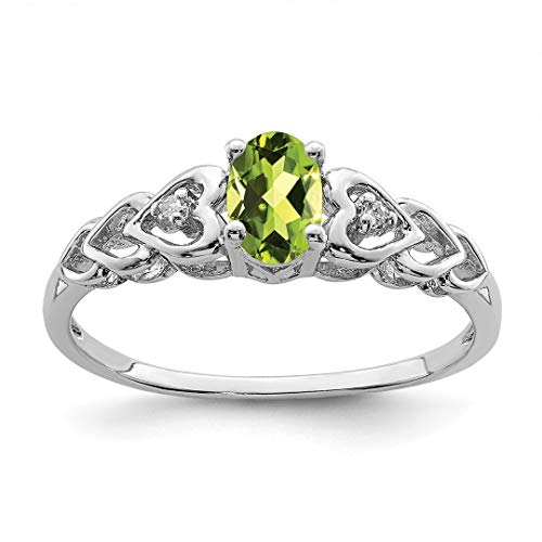 (925 Sterling Silver Green Peridot Diamond Band Ring Size 7.00 Birthstone August Gemstone Set Fine Jewelry Gifts For Women For Her)