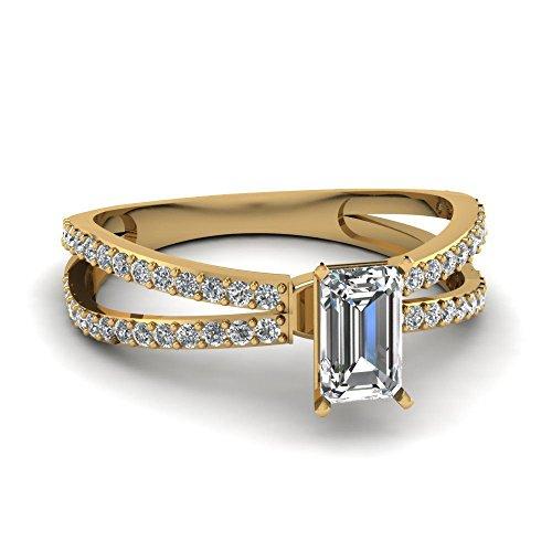 Pretty 2.95ct White Emerald Cut Simulated Diamond 10k YG Engagement-Wedding Ring ()