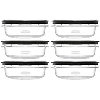 Rubbermaid Premier Food Storage Container, 3 Cup, 6 Pack, Grey