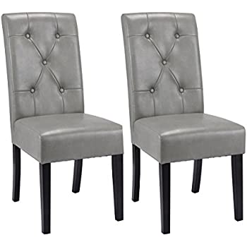 Giantex Set Of 2 Dining Chairs Tufted PU Leather High Back Armless Accent  Home Kitchen(
