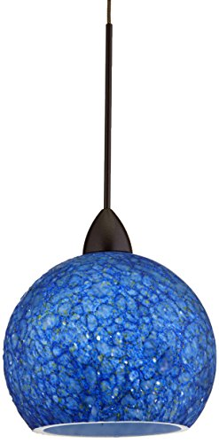 WAC Lighting QP599-BL/DB Rhea Quick Connect Pendant with Blue Shade and Dark Bronze Socket Set (Pendant Connect Quick Socket)