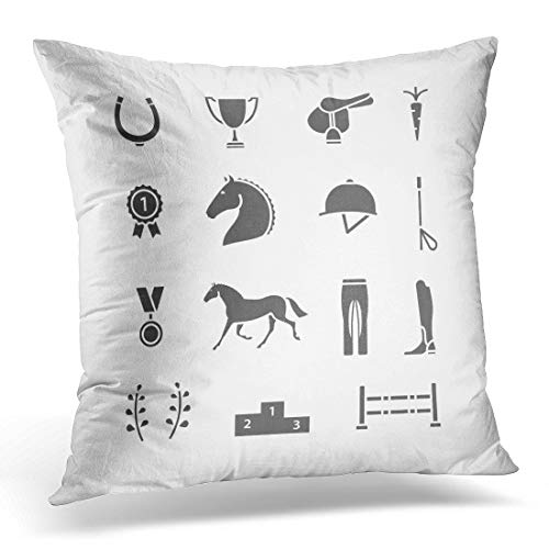 Emvency Throw Pillow Covers Case Race Horse Equipment Fill Equestrian Decorative Pillowcase Cushion Cover for Sofa Bedroom Car 16 x 16 Inches