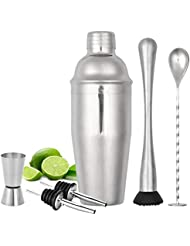 Cocktail Shaker Set, 6 Piece bartender kit, 25 oz Martini Shaker Set with Measuring Jigger and Mixing Spoon, Muddler, 2 Liquor Pourers, 18/8 Stainless Steel Bar Tools - Built-in Bartender Strainer