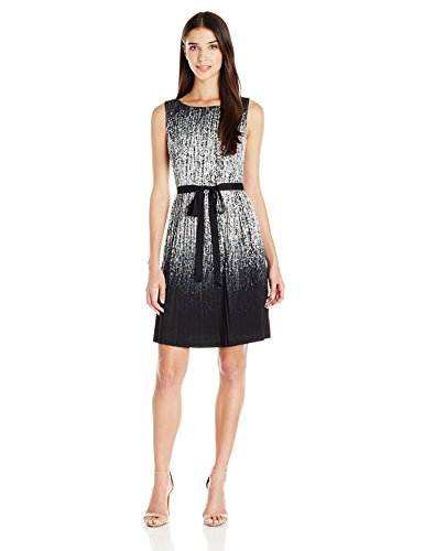 Adrianna Papell Women's Petite Printed Pleated Fit and Flare, Black/Ivory, 8P by Adrianna Papell