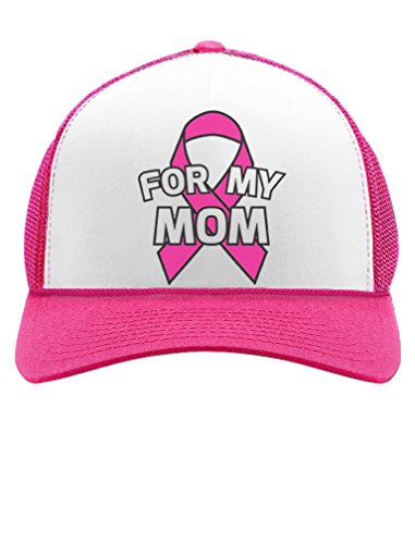 Cancer Awareness Trucker Hat (Tstars Breast Cancer Awareness - I Wear Pink Ribbon For My Mom Trucker Hat Mesh Cap One Size Wow Pink/White)
